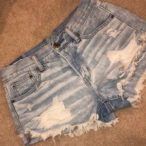 American Eagle Distressed Light Wash Denim Shorts